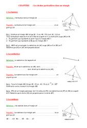 Droites remarquables – 4ème – Géométrie – Exercices – Contrôle – Mathématiques – Collège