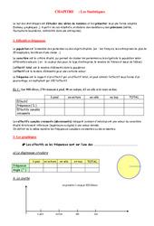 Statistiques – 4ème – Organisation et gestion des données – Exercices – Contrôle – Mathématiques – Collège