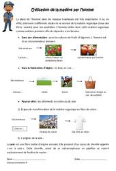 Utilisation de la matière par l'homme - Cm1 - Cm2 - Exercices