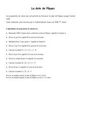 Programme de calcul de la date de Pâques – 6ème – Exercices