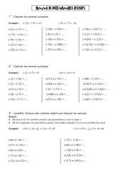 Somme de deux nombres relatifs - 5ème - Exercices - Numération - Collège