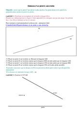 Distance d'un point à une droite - 4ème - Cours - Géométrie - Collège