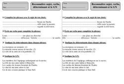 Sujet - Verbe - Déterminant - Groupe Nominal - Ce1 - Grammaire - Exercices corrigés - Cycle 2