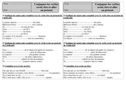 Présent – Etre, avoir, aller – Ce1 – Conjugaison – Exercices corrigés – Cycle 2