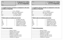 Verbes en er - Imparfait – Ce1 – Conjugaison – Exercices corrigés – Cycle 2