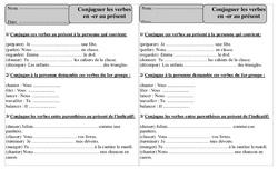 Verbes en er - Présent – Ce1 – Conjugaison – Exercices corrigés – Cycle 2
