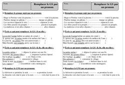 Remplacer le Groupe sujet par un pronom – Ce1 – Grammaire – Exercices corrigés – Cycle 2