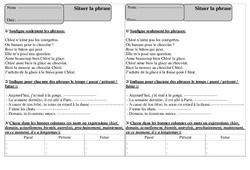Situer la phrase – Ce1 – Grammaire – Exercices corrigés – Cycle 2