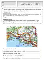 Lire une carte routière – Représenter l'espace – Ce1 – Exercices – Espace temps – Cycle 2