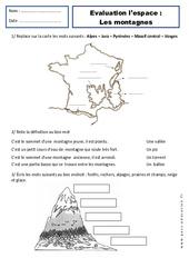 Montagnes - Paysages - Ce1 – Evaluation – Espace temps – Cycle 2