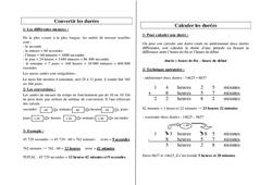 Convertir les durées – Ce2 Cm1 Cm2 – Grandeurs et mesures – Leçon