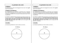 Périmètre du cercle - Ce2 Cm1 Cm2 - Leçon
