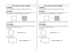 Aire du carré – Aire du rectangle – Ce2 Cm1 Cm2 – Leçon