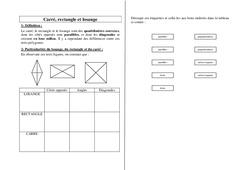 Carré, rectangle et losange - Ce2 Cm1 Cm2 - Exercices