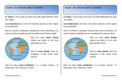 Climats dans le monde – Ce1 – Leçon