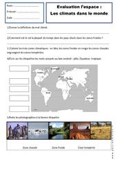 Climats – Ce1 – Evaluation – Espace temps – Cycle 2