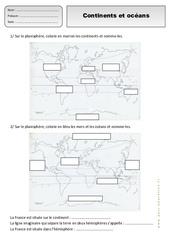 Continents - Océans – Ce1 – Exercices – Espace temps – Cycle 2