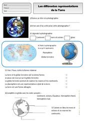 Différentes représentations de la terre – Ce1 – Exercices – Espace temps – Cycle 2