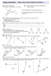Droites cercles triangles – 6ème – Géométrie – Exercices – Soutien scolaire – Fiches de révisions – Collège