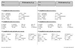 M devant m b p - Ce2 - Exercices avec  correction