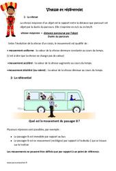 Vitesse et référentiel - Cm1 - Cm2 - Exercices à imprimer