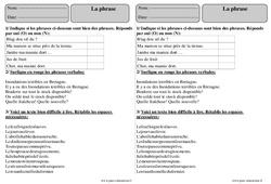 Phrase – Ce2 – Exercices avec correction