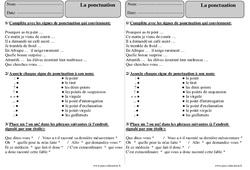 Ponctuation - Ce2 - Exercices corrigés