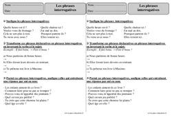 Phrases interrogatives – Ce2 – Exercices corrigés