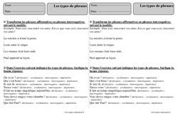 Types de phrases – Ce2 – Exercices corrigés