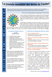 Journée mondiale des droits de l'enfant - Ressources pédagogiques - Ce2 - Cm1 - Cm2 - Cycle 3 - Instruction civique