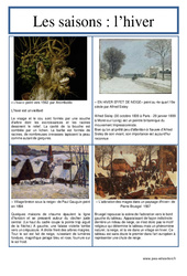 Hiver - Les saisons -  Lecture d'une oeuvre artistique - Ce2 - Cm1 - Cm2 - Cycle 3 - Histoire de l'art