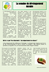 Semaine du développement durable – Ce2 – Cm1 – Cm2 – Lecture compréhension – Cycle 3 – Sciences