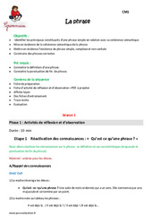 Phrase - Cm1 - Fiche de préparation