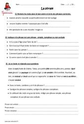 Phrase – Cm1 – Exercices à imprimer