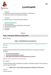 Ponctuation – Cm1 – Fiche de préparation