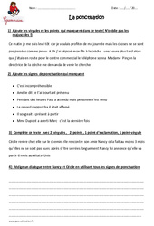 Ponctuation – Cm2 – Exercices à imprimer – Cycle 3