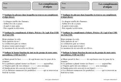 Compléments d'objets – Ce2 – Exercices avec correction – COD – COI