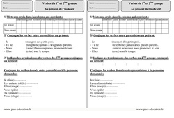1er et 2ème groupe - Présent - Ce2 - Exercices Corrigés