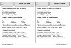 Infinitif - Groupe - Ce2 – Exercices Corrigés