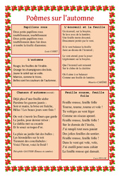 Automne – Poèmes – Lecture poésie – Cycle 2 – Cycle 3