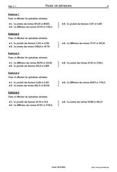 Poser des opérations – 6ème – Exercices corrigés – Mathématiques – Collège – Soutien scolaire