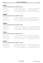 Priorités opératoires - 5ème – Exercices corrigés – Mathématiques – Collège – Soutien scolaire