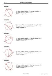 Cercle et théorème de Pythagore - 4ème – Exercices corrigés – Mathématiques - Géométrie – Collège – Soutien scolaire