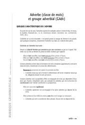 Adverbes - 6ème – Cours – Exercices corrigés – Grammaire – Soutien scolaire – Collège