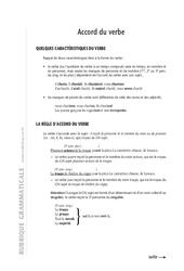 Accord du verbe – 6ème – Cours – Exercices corrigés – Grammaire – Soutien scolaire – Collège