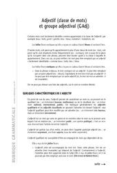 Adjectif – 6ème – Cours – Exercices corrigés – Grammaire – Soutien scolaire – Collège