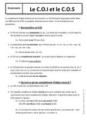 Complément d'objet indirect et Complément d'objet second - COI - 6ème – Cours