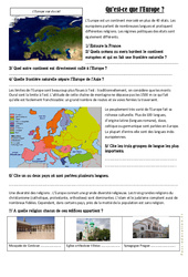 Qu'est-ce que l'Europe ? –  Cm1 cm2 – Exercices   Document, questions et correction