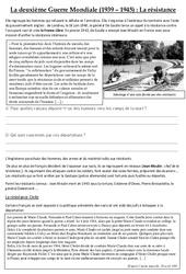 La résistance – La deuxième Guerre Mondiale (1939 – 1945) – Exercices – Cm2 – Cycle 3