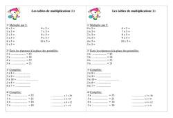 Tables de multiplication – Ce1 – Exercices – Calcul – Cycle 2